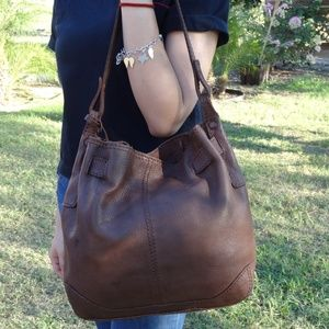 Fossil Brown Pebble Leather Shoulder Bag Tote